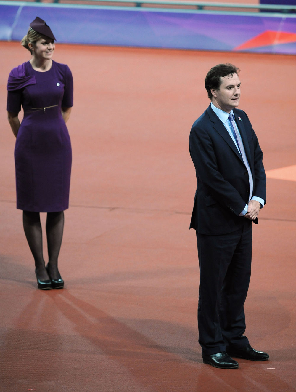 George Osborne about to hand out medals of the Paralympic Games suddenly realising that he's being booed by the entire Olympic Stadium, 3 September 2012. Photo:  Press Association
