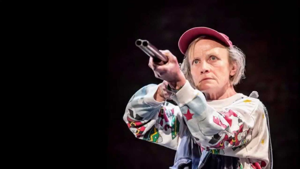Amelda Brown 'as' 'Margaret Gibb' and a gun 'as' 'a gun' in Adler & Gibb (Royal Court, 2014) photo: Johan Persson