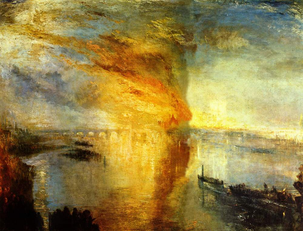 The Burning of the Houses of Lords and Commons by J. M. W. Turner (1834)