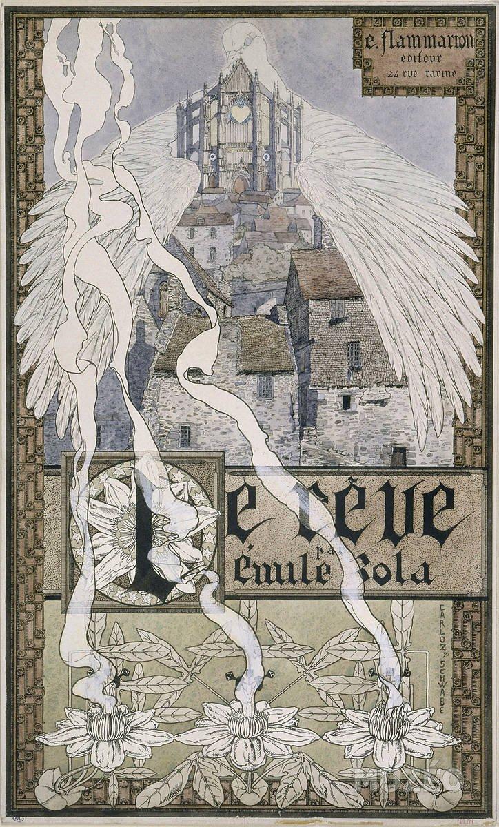 Carlos Schwabe's symbolist frontispiece for Zola's La Rêve (1892)