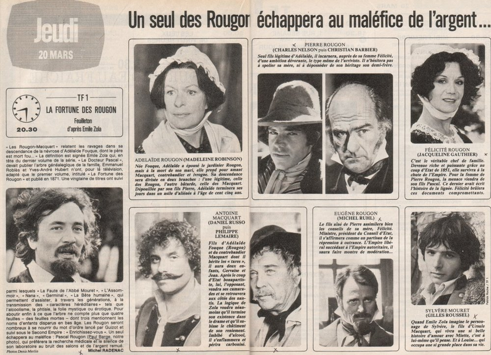 A magazine preview of the 1980 French television mini-series adaptation by Emmanuel Roblès, directed by Yves-André Hubert.