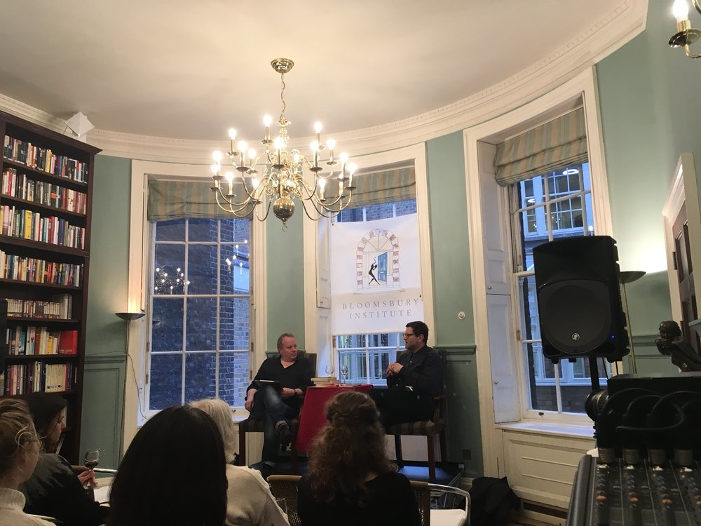 Me talking to David Eldridge at the Bloomsbury Institute. Photo: Lisa Goll