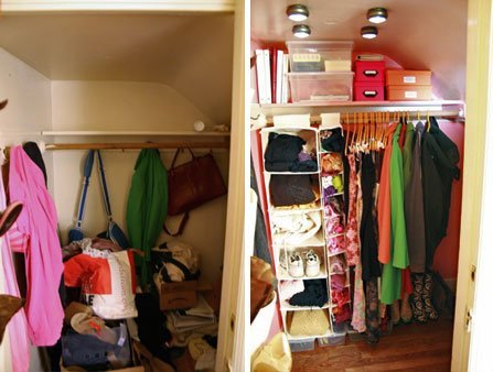 Before (left)...total disarray. After (right): colorful, organized and FUN! (Photo Credit: Apartment Therapy.)