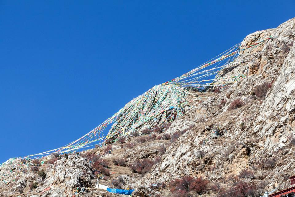A small section of the Prayer flags that adorn the mount tops