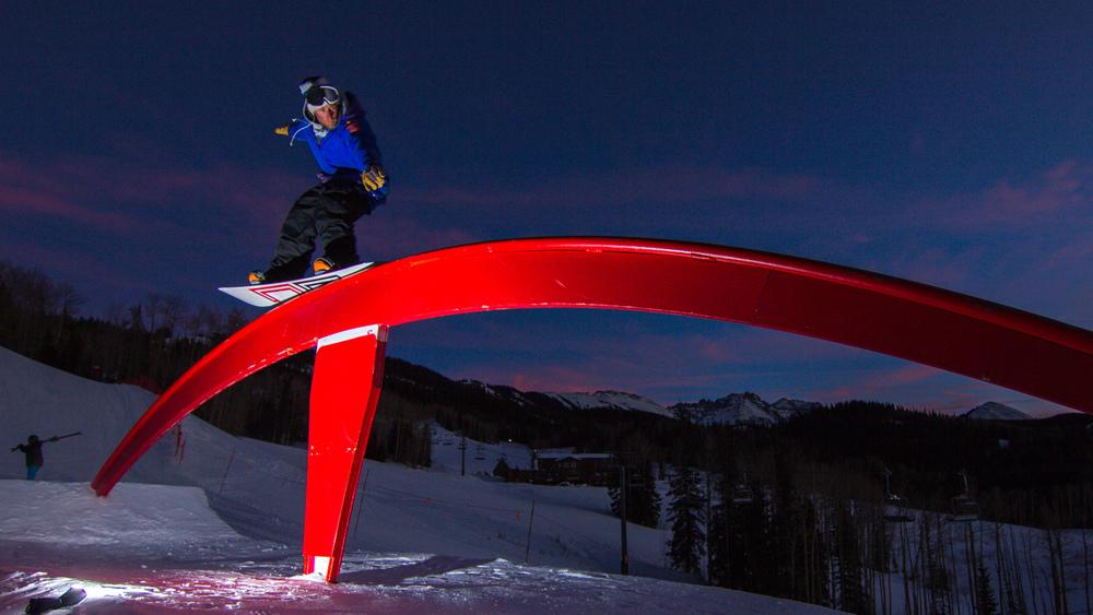 Chris Meyer jibs the Telluride rainbow rail