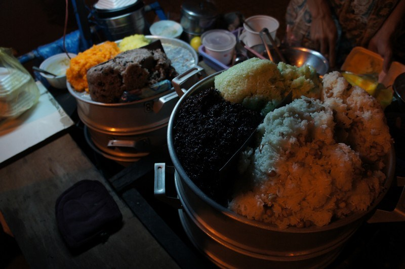 Sticky rice in Saigon at night.