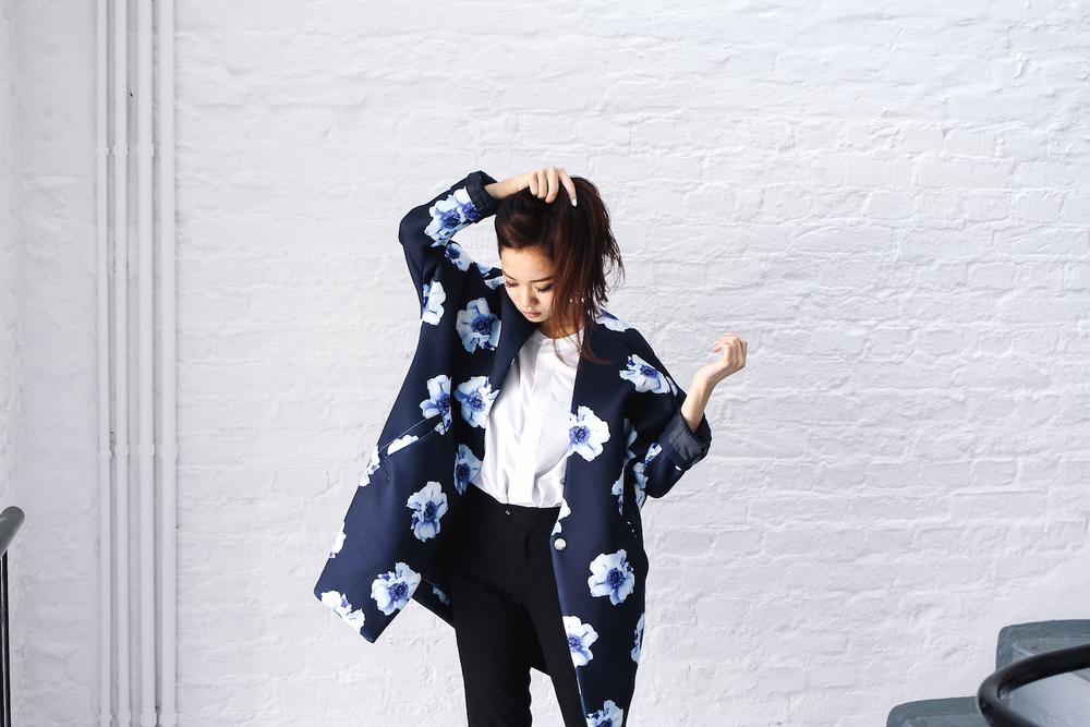 vietnamese fashion, floralpunk, floralpunk behind the scenes, shopping ho chi minh, saigon fashion, blue neoprene jacket, blue jacket flower print, oversize blue jacket