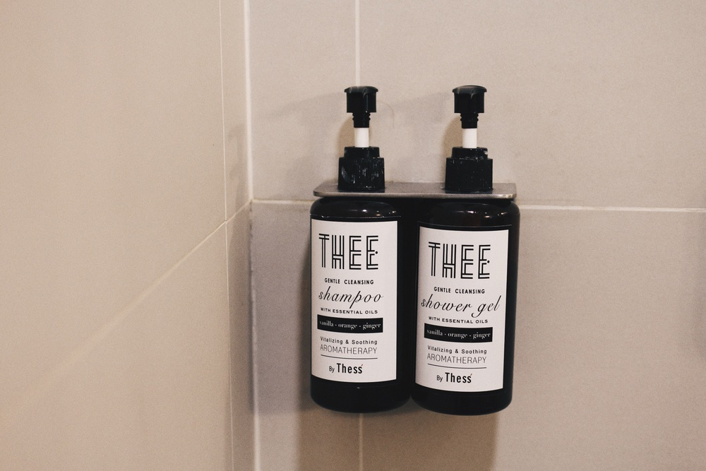 It's a boutique hotel, and a kinda hipster one as well. Hence these nice shower gel and shampoo bottles : ) bathrooms weren't made that well. They could have looked really posh, but whoever put in the tiles and door did a shit job.
