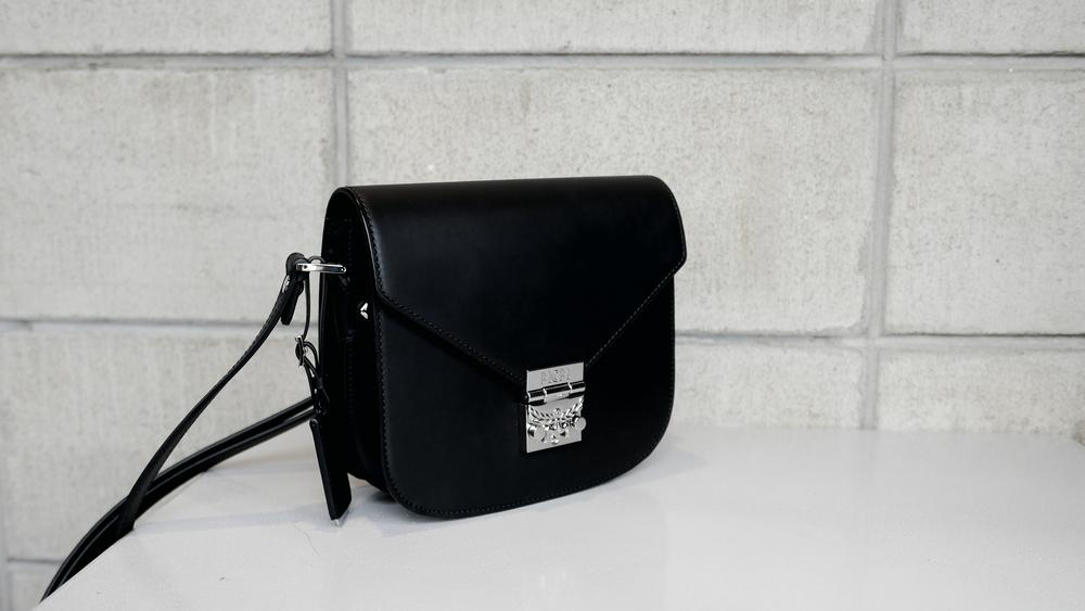 MCM patricia black saddle bag