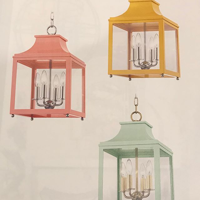 "The new Mitzi collection by @hudsonvalleylighting is exactly what your home needs for an exciting pop of color! Have fun with your decor. Color is in ! We love the ""Leigh"" lanterns and sconces 😍"