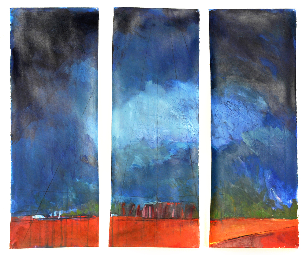 "framed triptych. acrylic on paper. 33"" x 40"""