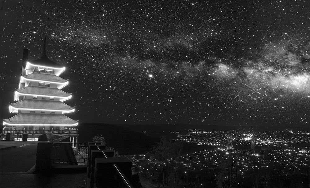 Photoshop A Lovely Starry Night Sky Pagoda City