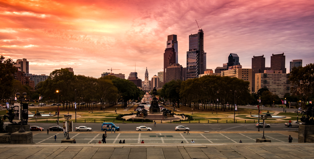 Write Lighting Sunset Philly PA Art Museum Rocky Steps Urban Cityscape Photography.jpg