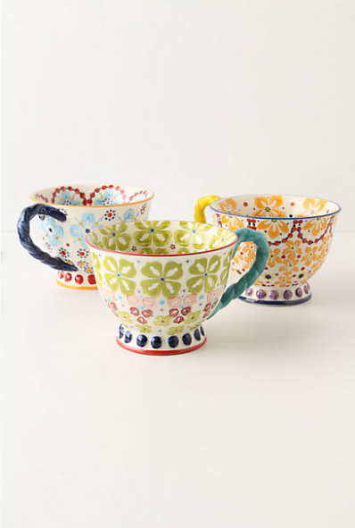 With a Twist Teacup from  Anthropologie  ($12, and so pretty on the shelf)