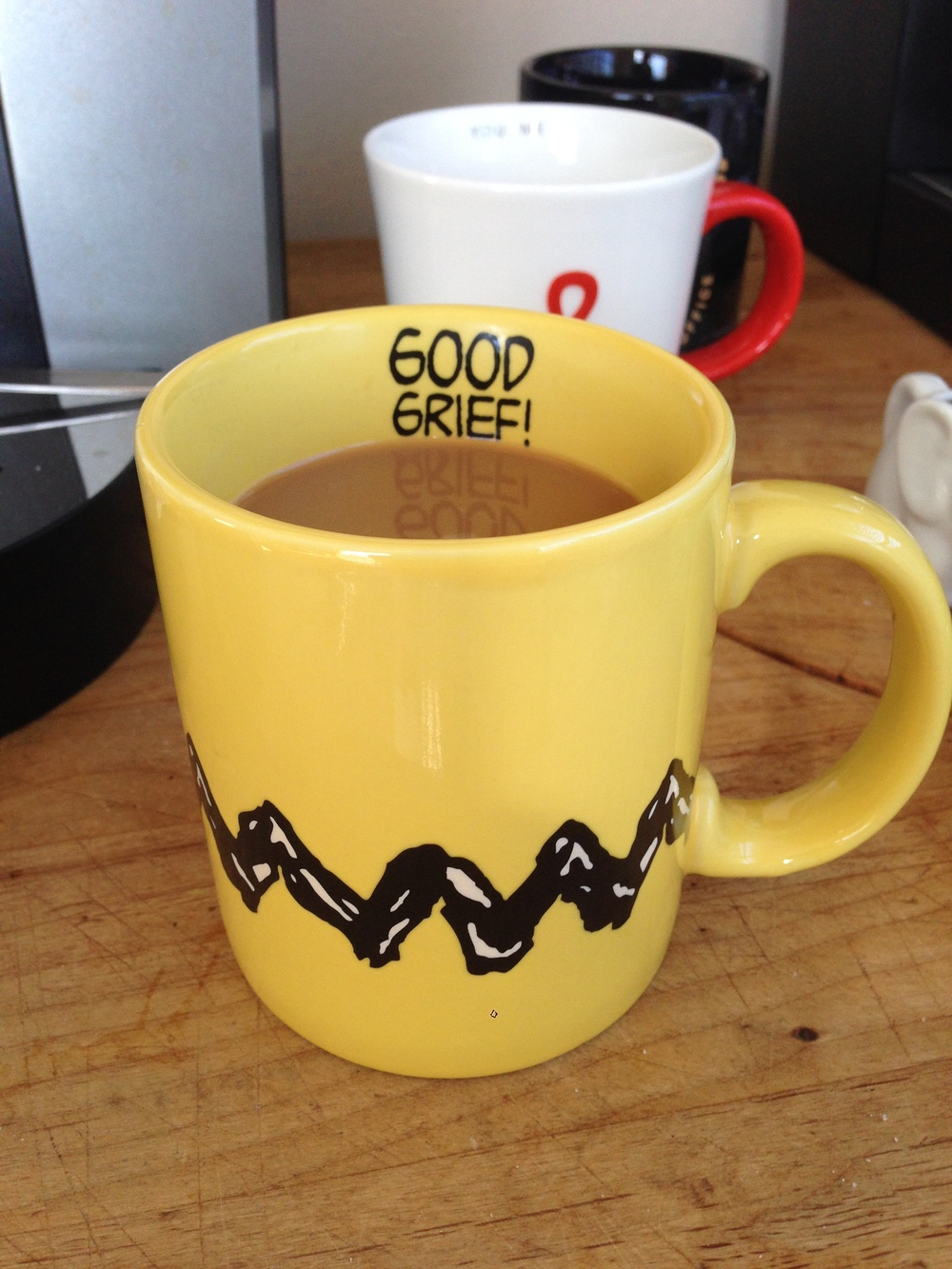 Good Grief Mug ( $8 , but sold out everywhere online. Pro Tip:  Try making your own ).