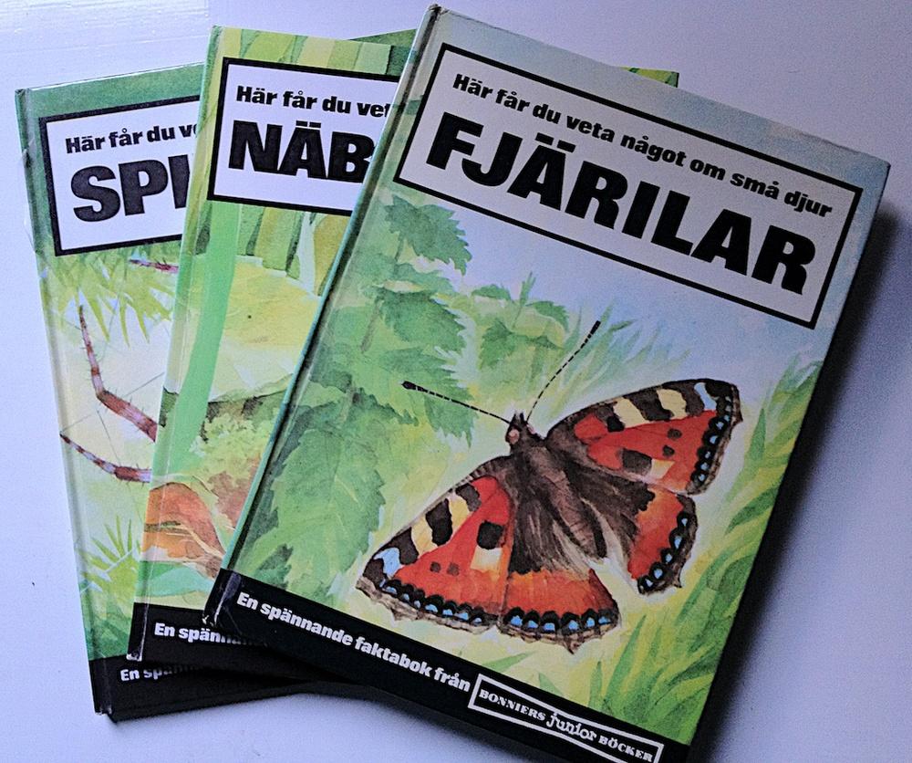 Här får du veta något om små djur: Fjärilar, Näbbmöss och Spindlar.