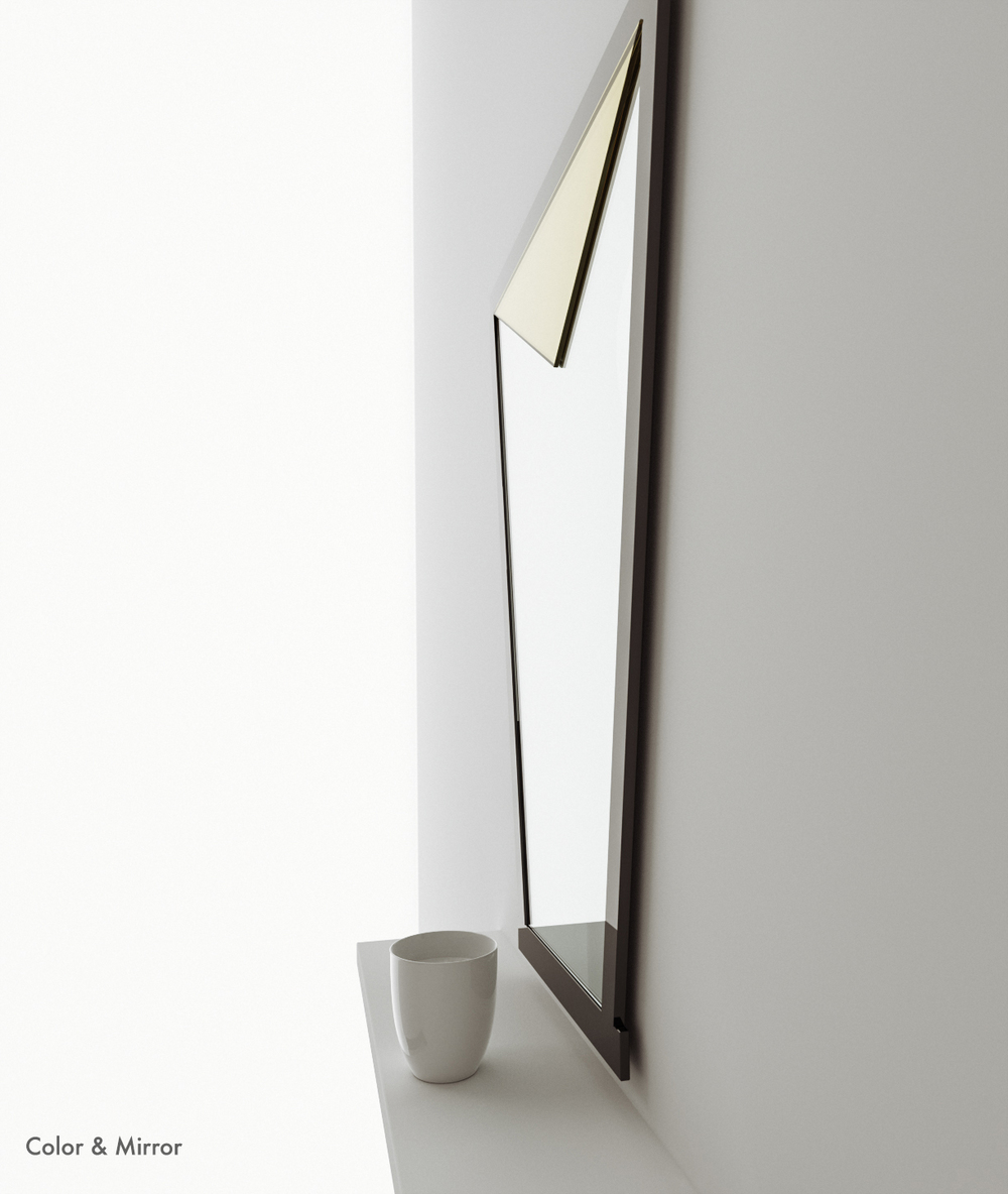 Side view of golden wall mirror