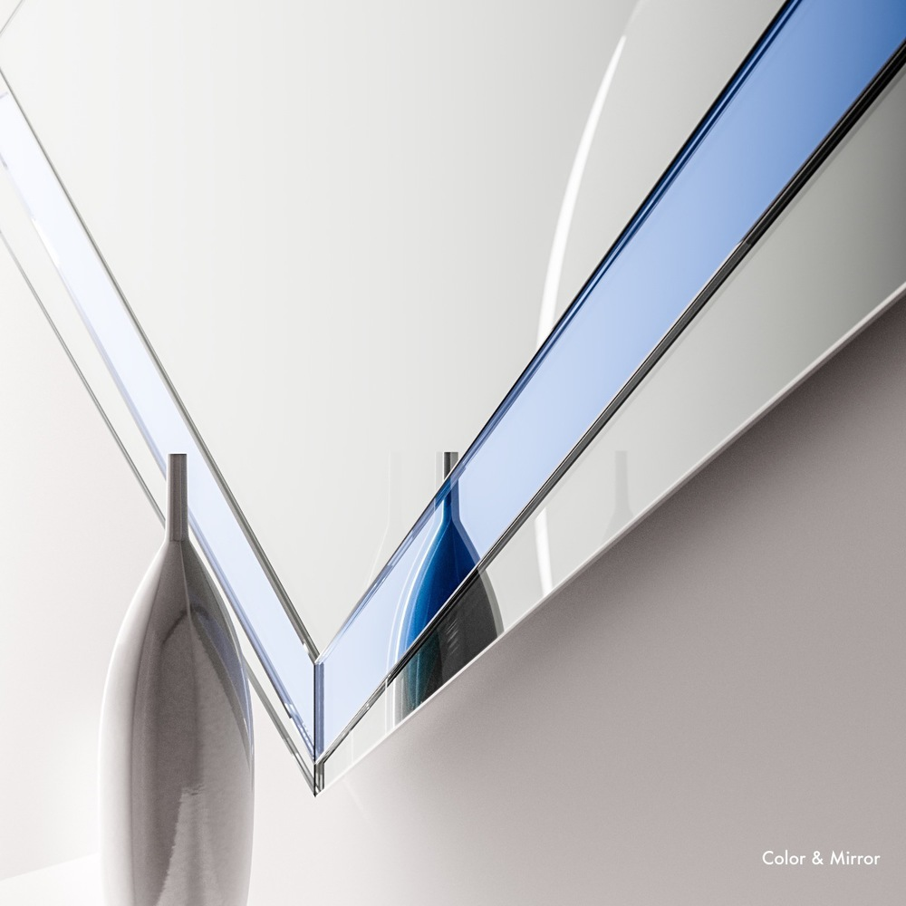Detailed photoed of blue wall mirror