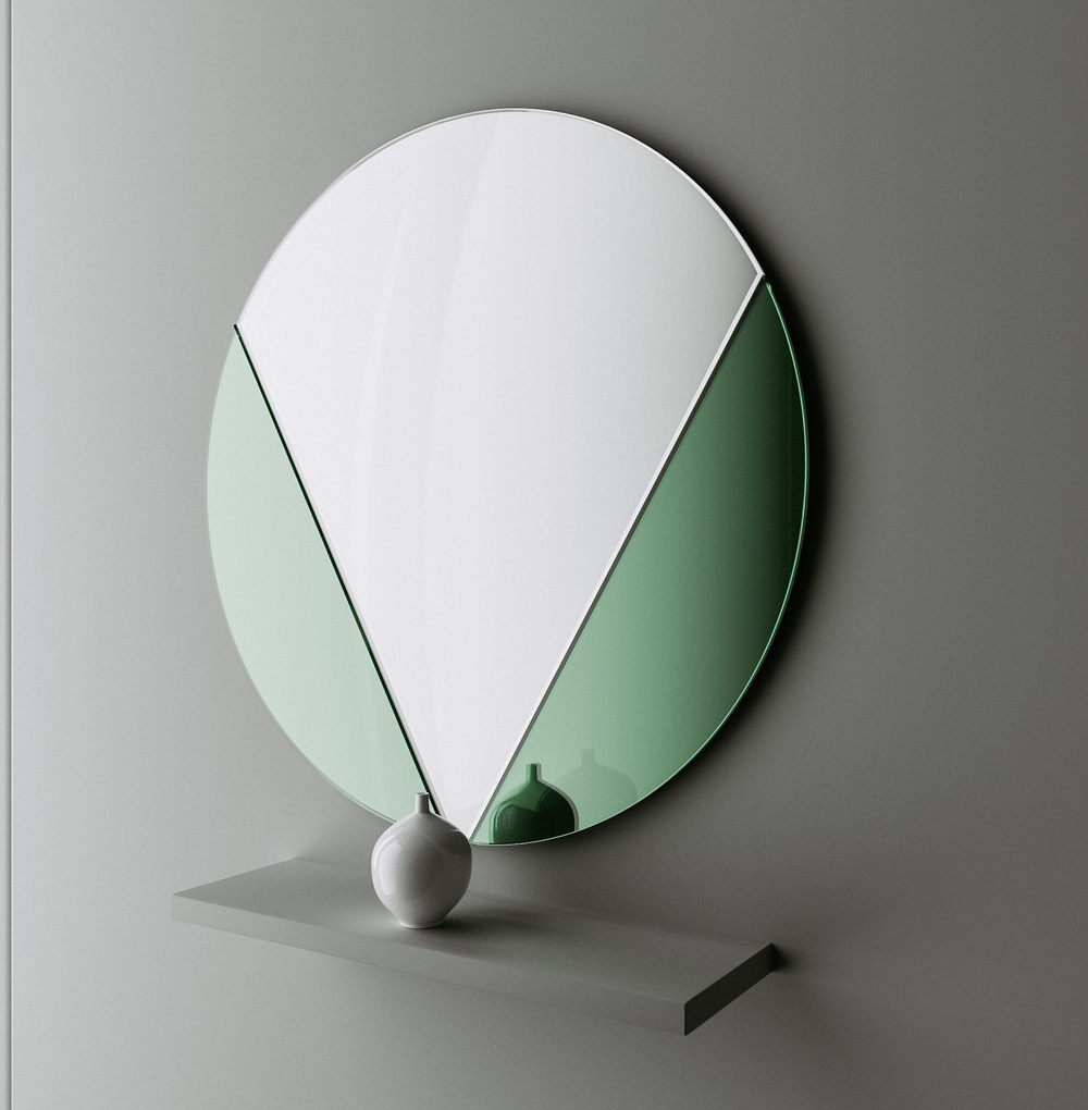 Studio photo of green glass mirror by Color & Mirror.