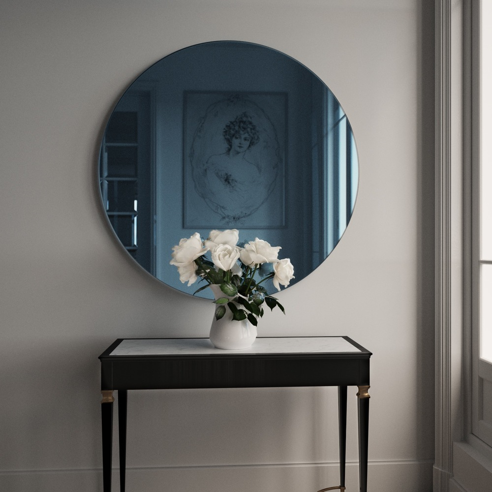 Round Blue Mirror by Color & Mirror.