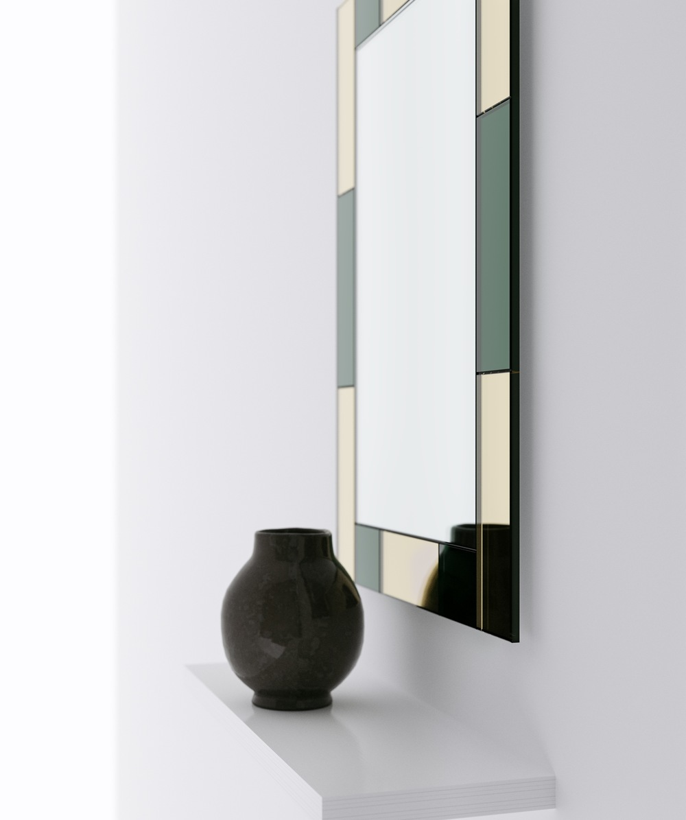 Another side view photo of gold and green mirror.