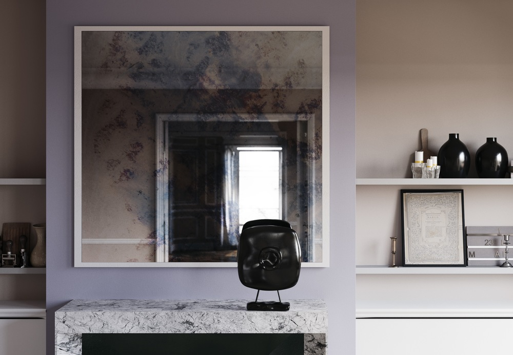Detailed photo of Antiqued mirror.