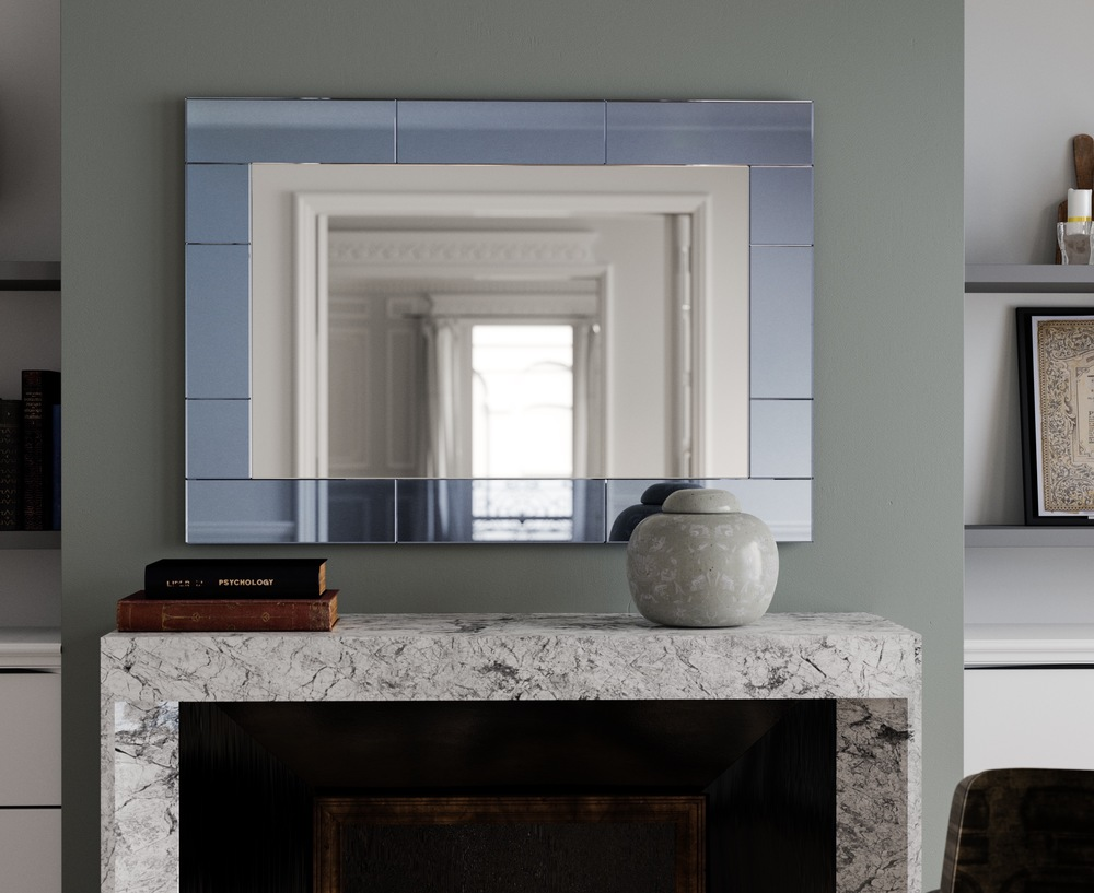 blue tiled art deco style wall mirror