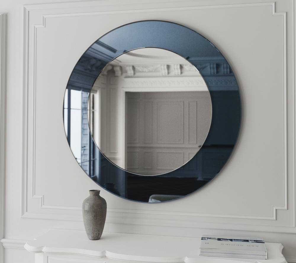 Front view of Blue Round Mirror