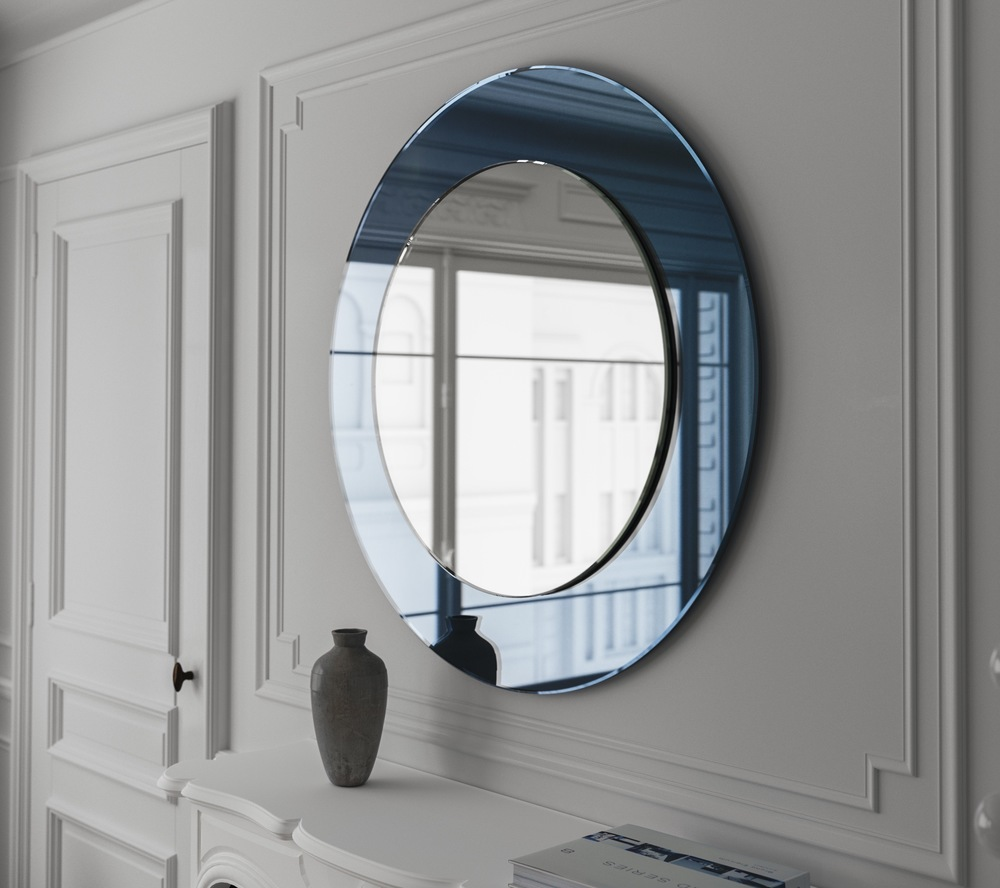 Another photo of the blue frameless wall mirror