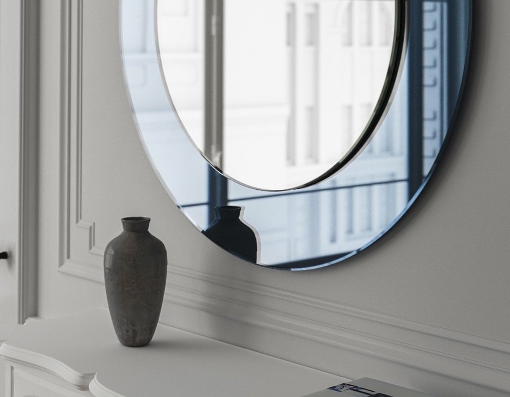 Detailed view of blue mirror