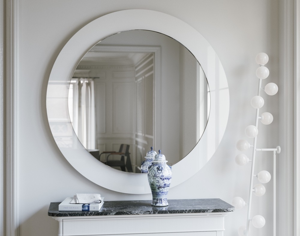 White Art Deco Mirror