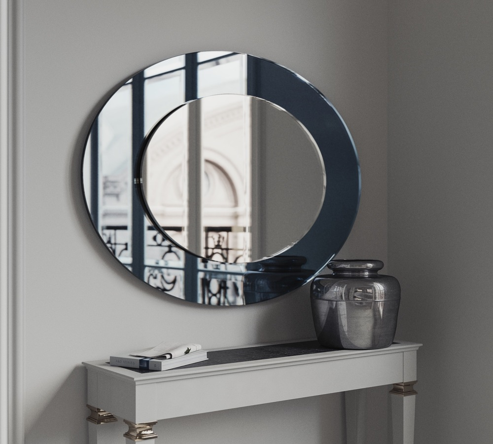 Oval mirror with blue border
