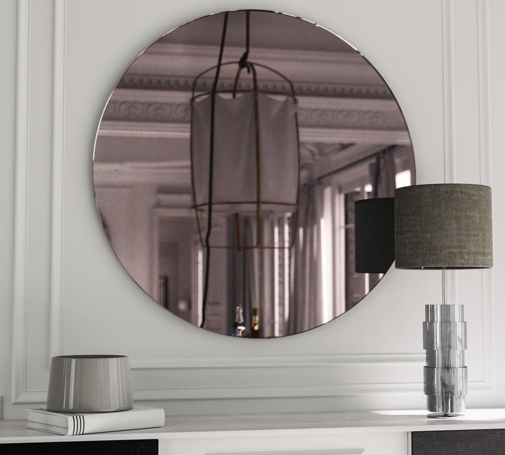 Round Pink Art Deco Mirror