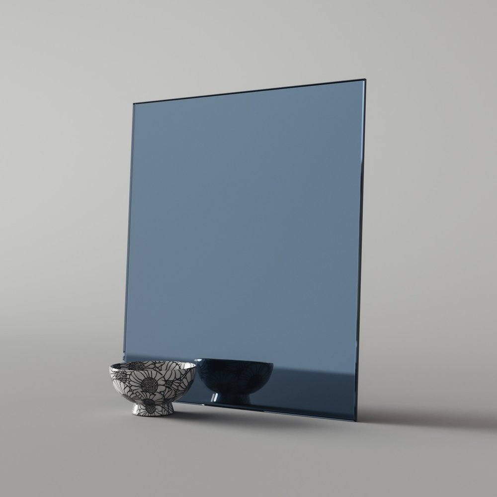 Sample piece of blue mirror material