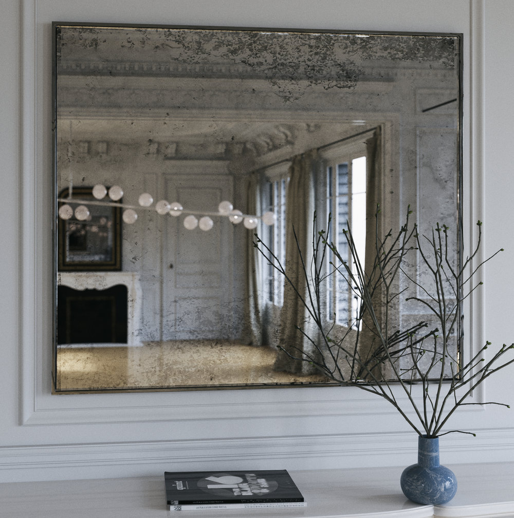 Antiqued Style Wall Mirror photographed in New York