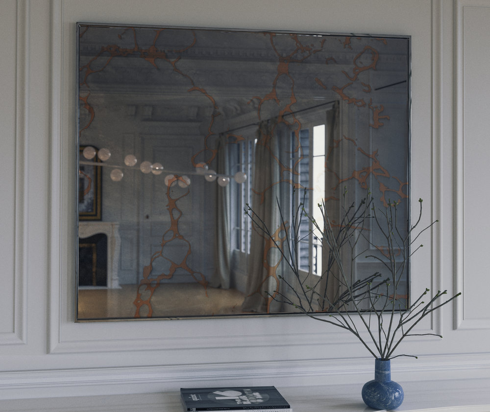 Gold Vein Antiqued Style Wall Mirror photographed in New York