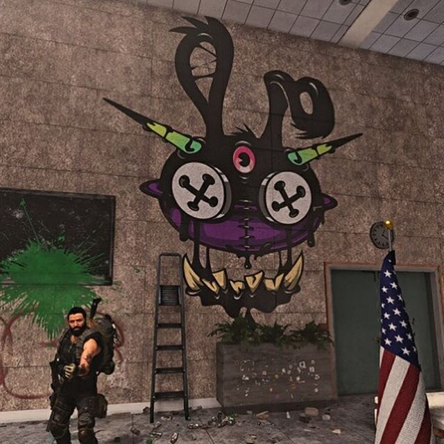 Love seeing the photos people have been snapping of my work they've found hidden in #thedivision2 beta. If anyone else playing sees any please share!!! Pics by @jcole3416 and @smovingman ,  tag the others if you know who snapped em.  #gameart #streetart #hideandseek #sopinsky