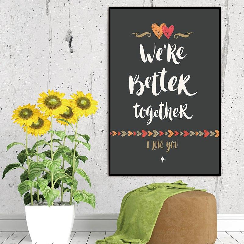 """WE'RE BETTER TOGETHER CANVAS PRINT - Add some love to your room decor with the """"We're Better Together"""" Canvas Print. Makes for a great addition to your bedroom, living room or bathroom decor. Print only, no frame included."""