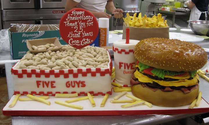 Five Guys Hamburger and Fries Cake
