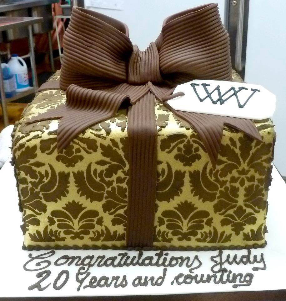 Gold and Brown Gift Box Cake