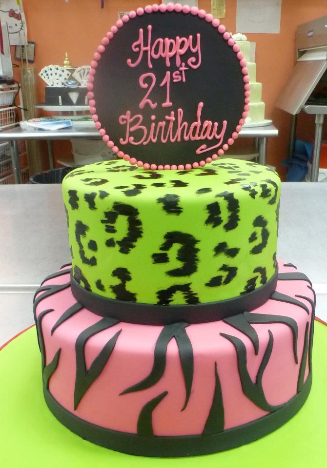 Zebra, leopard skin cake