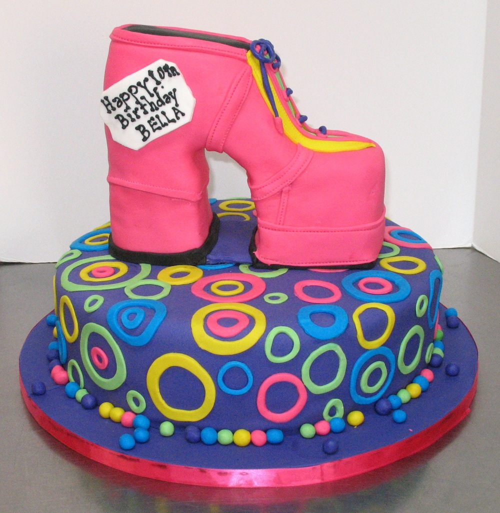 80's funky shoe birthday cake