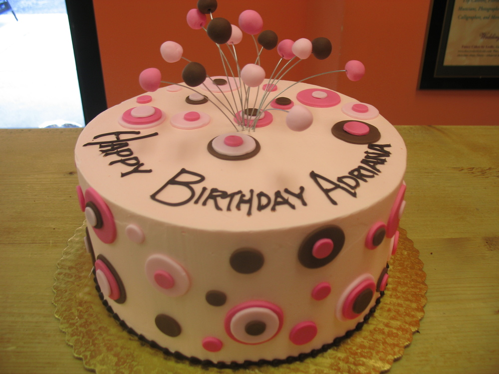 Pink and brown dot cake