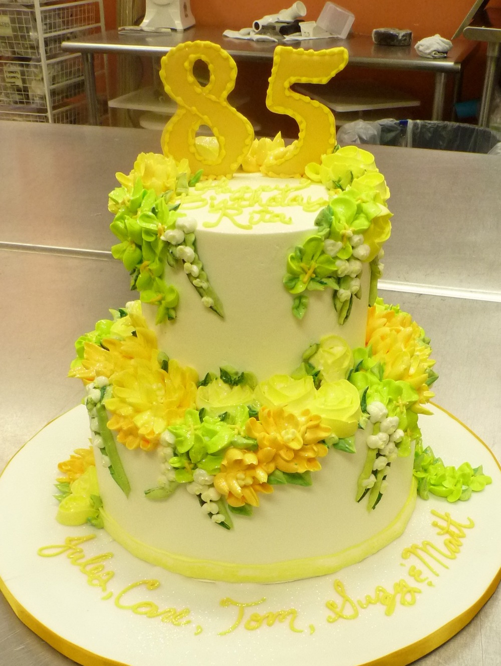 Spring buttercream flower cake