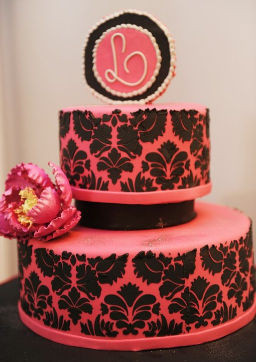 Lovely Pink and Black Cake
