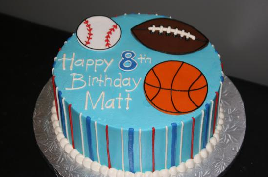 Baseball, Football, and Basketball Cake