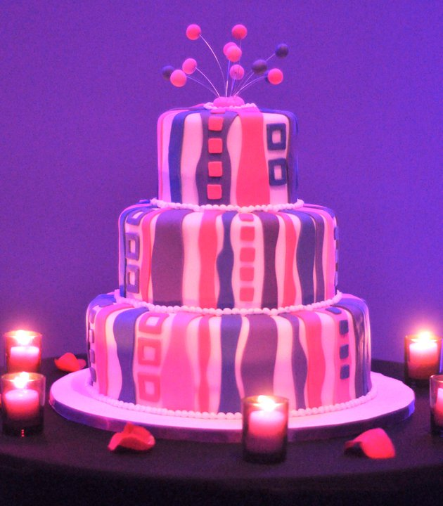 Girly Pink and Purple Shower Cake