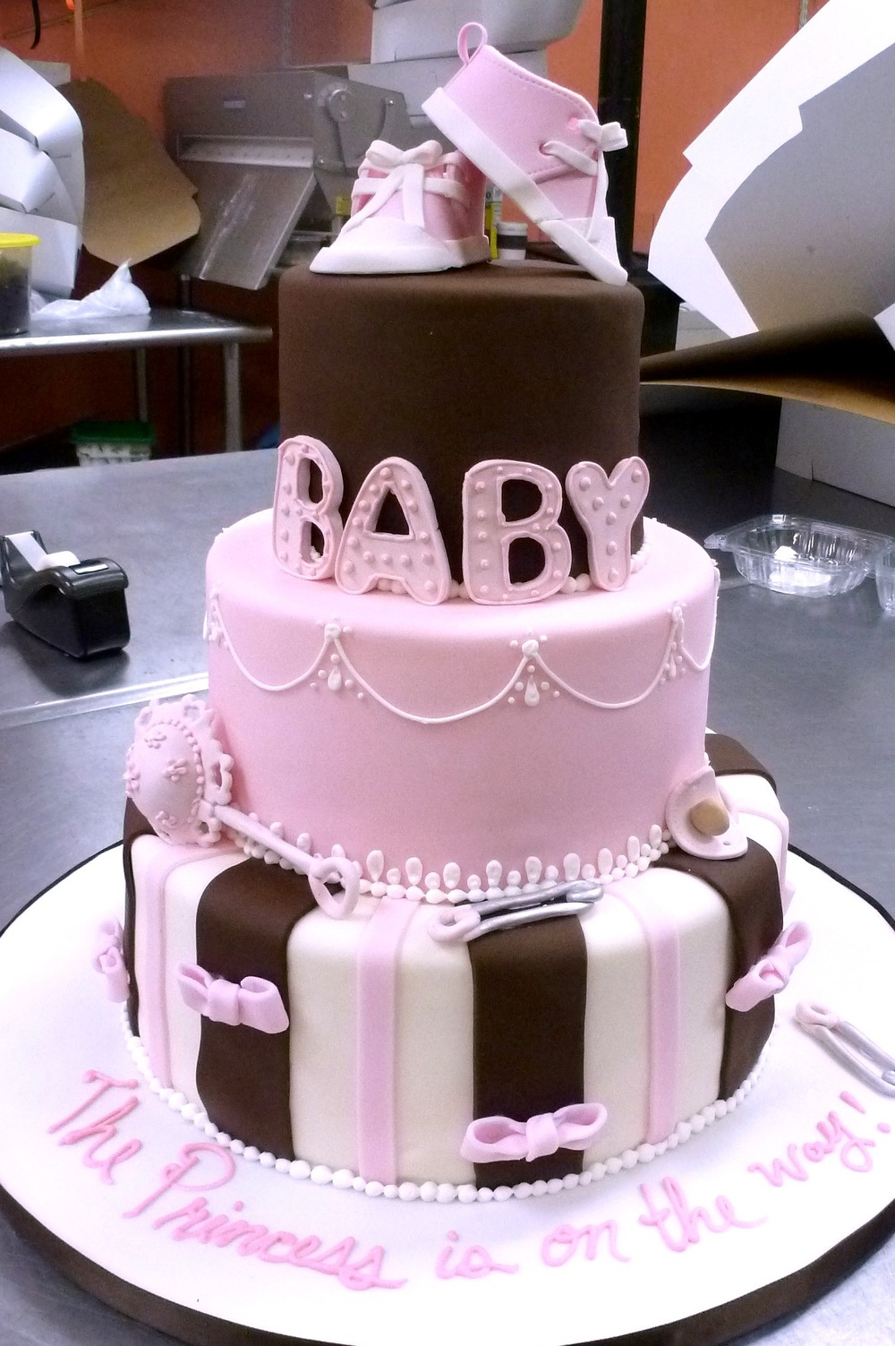 Baby Shower Cake with Baby Shoes