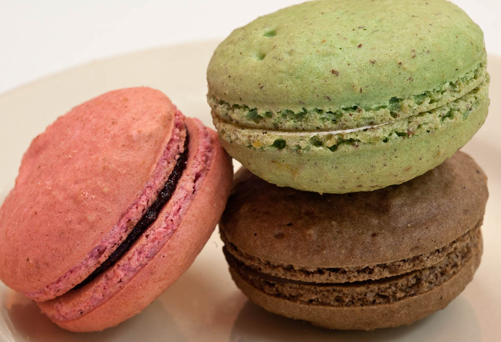 Pistachio, Raspberry and chocolate macarons