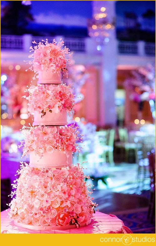 Wedding Cake with Pink Sugarflowers